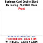 Business Card - Double Sided - 16pt - UV Both Sides